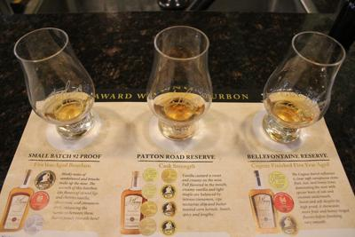 Visitors learn to properly taste three types of bourbon at J. Henry and Sons near Madison, Wisconsin.