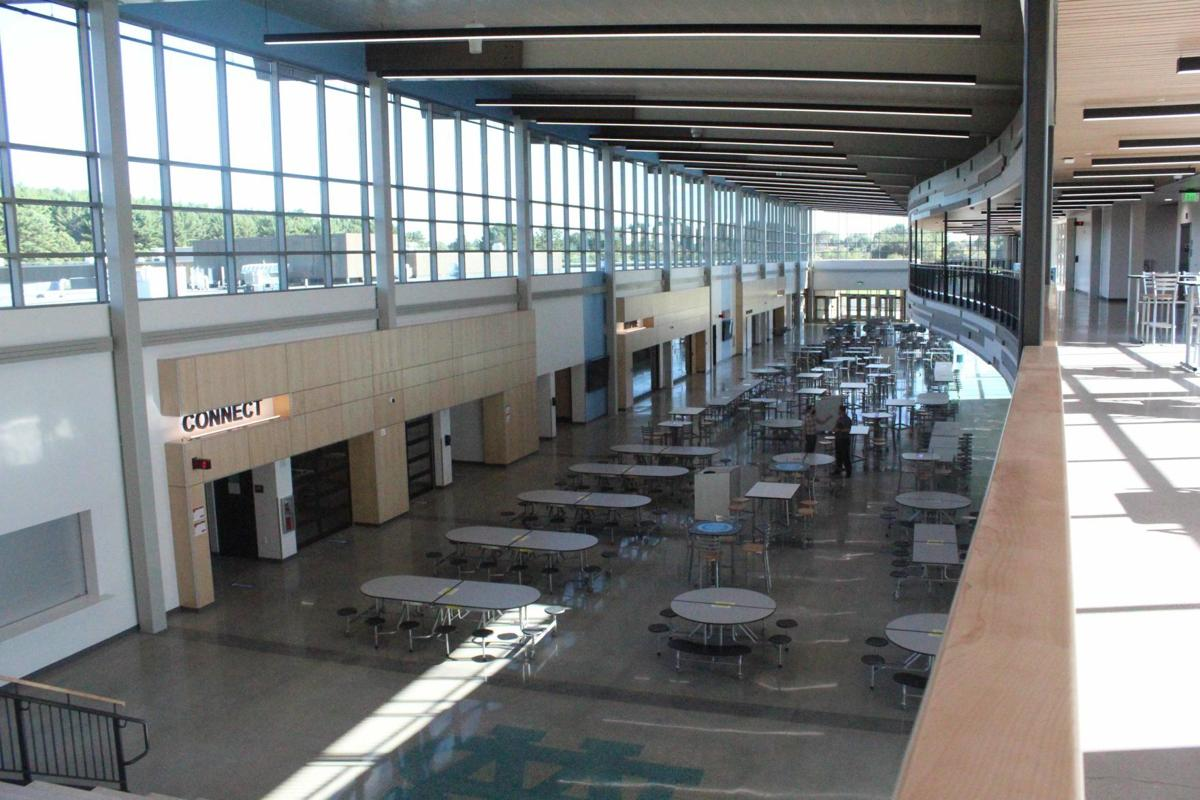 Overlook of high school cafeteria and commons Dells new high school