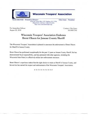 Wta Endorsement Letter For Sheriff Oleson   WiscnewsCom