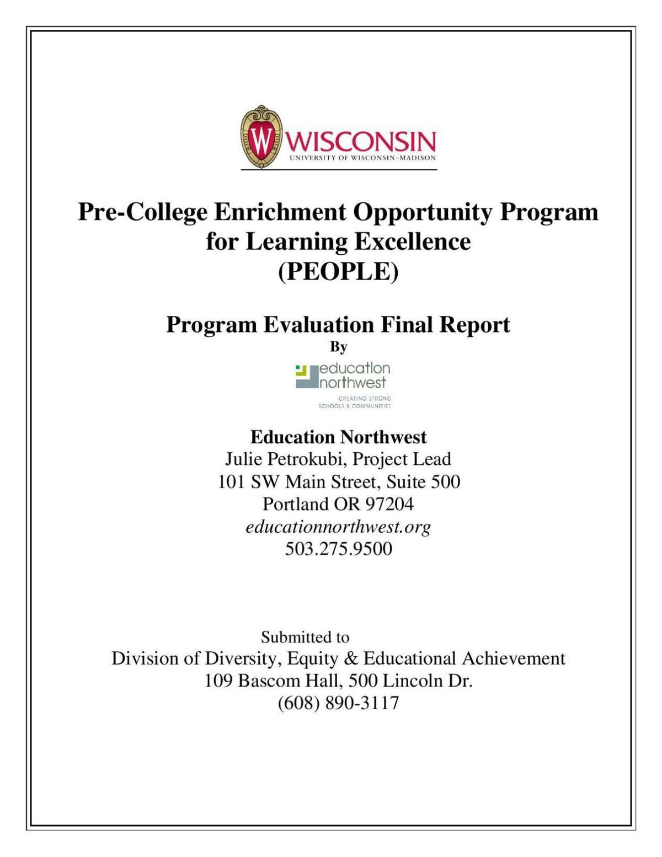 Evaluation of UW-Madison PEOPLE program