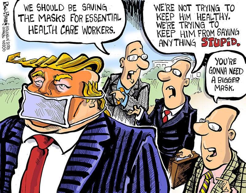 Hands on Wisconsin: Trump will need a bigger coronavirus mask ...