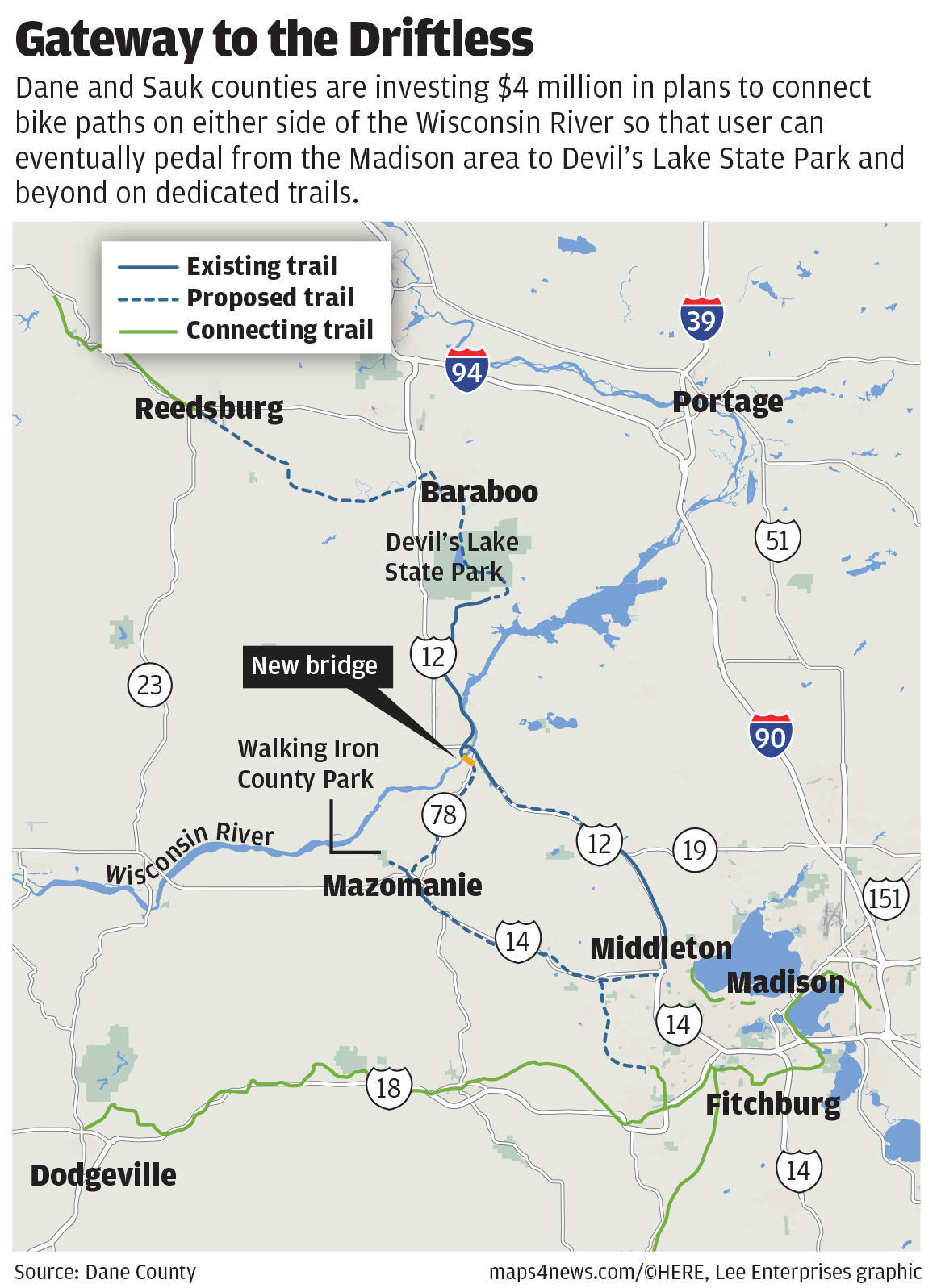 Driftless gateway: proposed trail connections across Wisconsin River