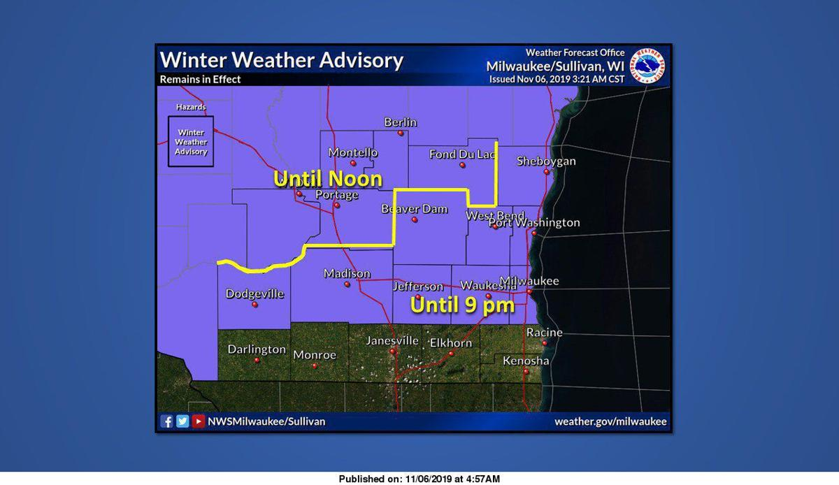 National Weather Service winter weather advisory map 11-6-19