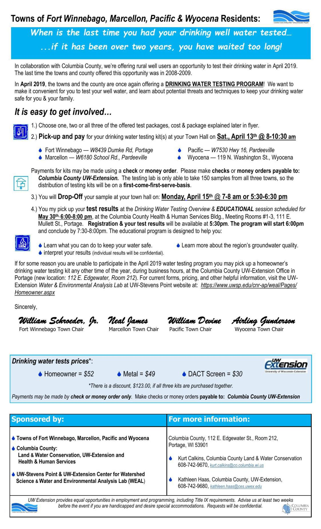 April flyer for water testing kits