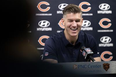 Chicago Bears General Manager Ryan Pace answers questions during a press conference Monday, Jan. 14, 2019, at Halas Hall in Lake Forest, Ill.