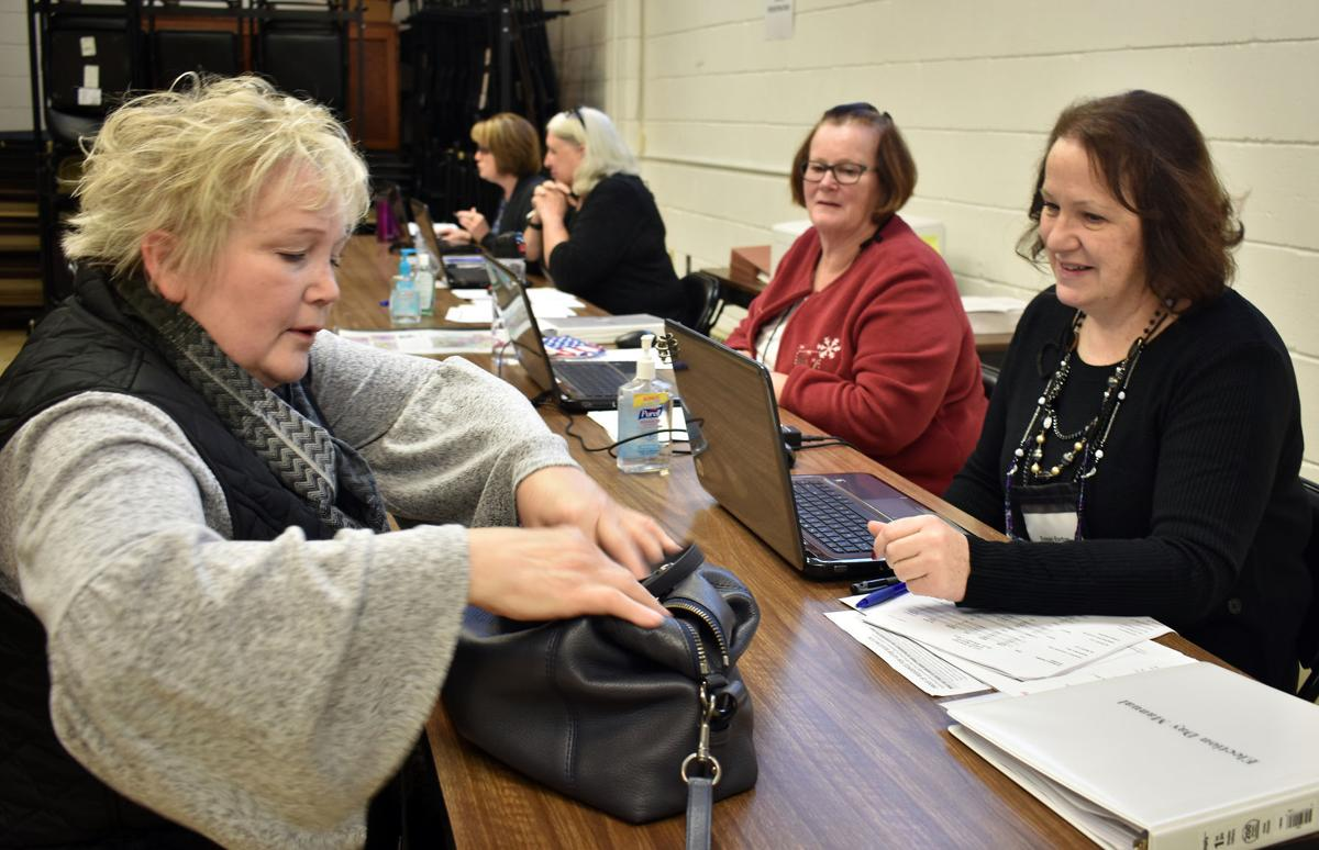 Election officials in Portage