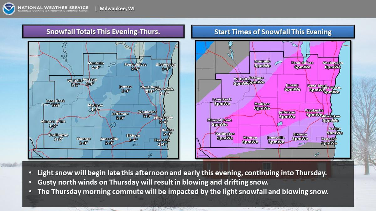 National Weather Service forecast graphic 2-12-20