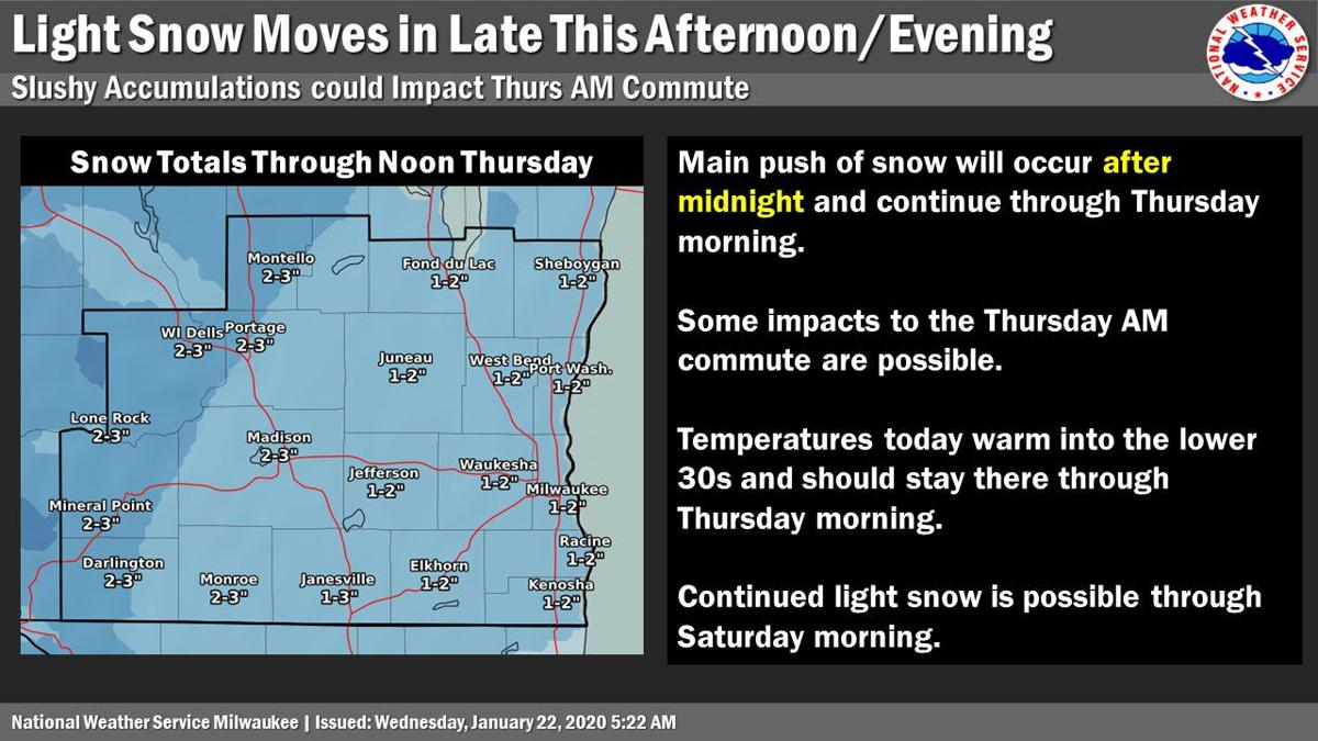 Snow forecast through noon Thursday by National Weather Service