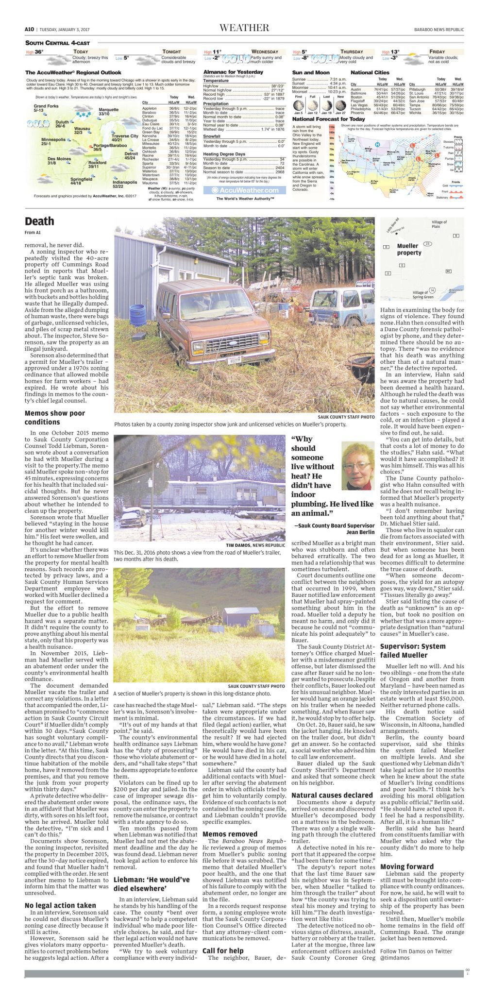 Sauk County man lived, died in environmental health hazard