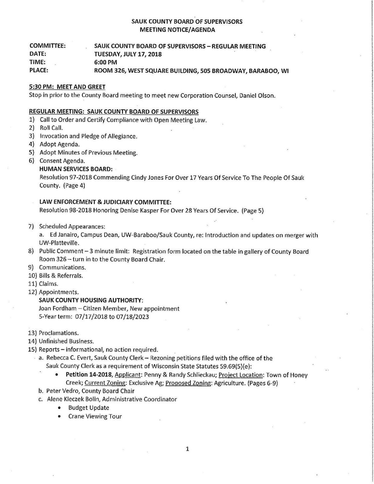 Sauk County Board agenda