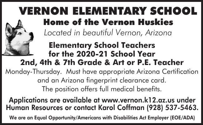 Vernon Elementary 2,4, 7 Grade Art or PE Teachers