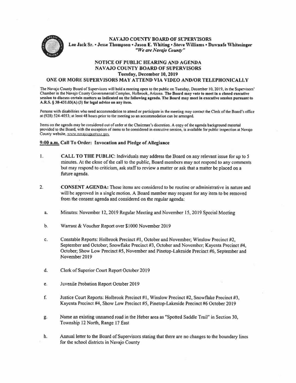 Nav Co Board of Supervisors Dec. 10, 2019 agenda (partial)