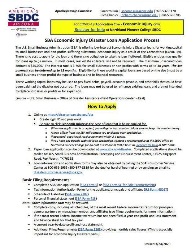 SBA Economic Injury Disaster Loan Application Process - SBDC's info flyer