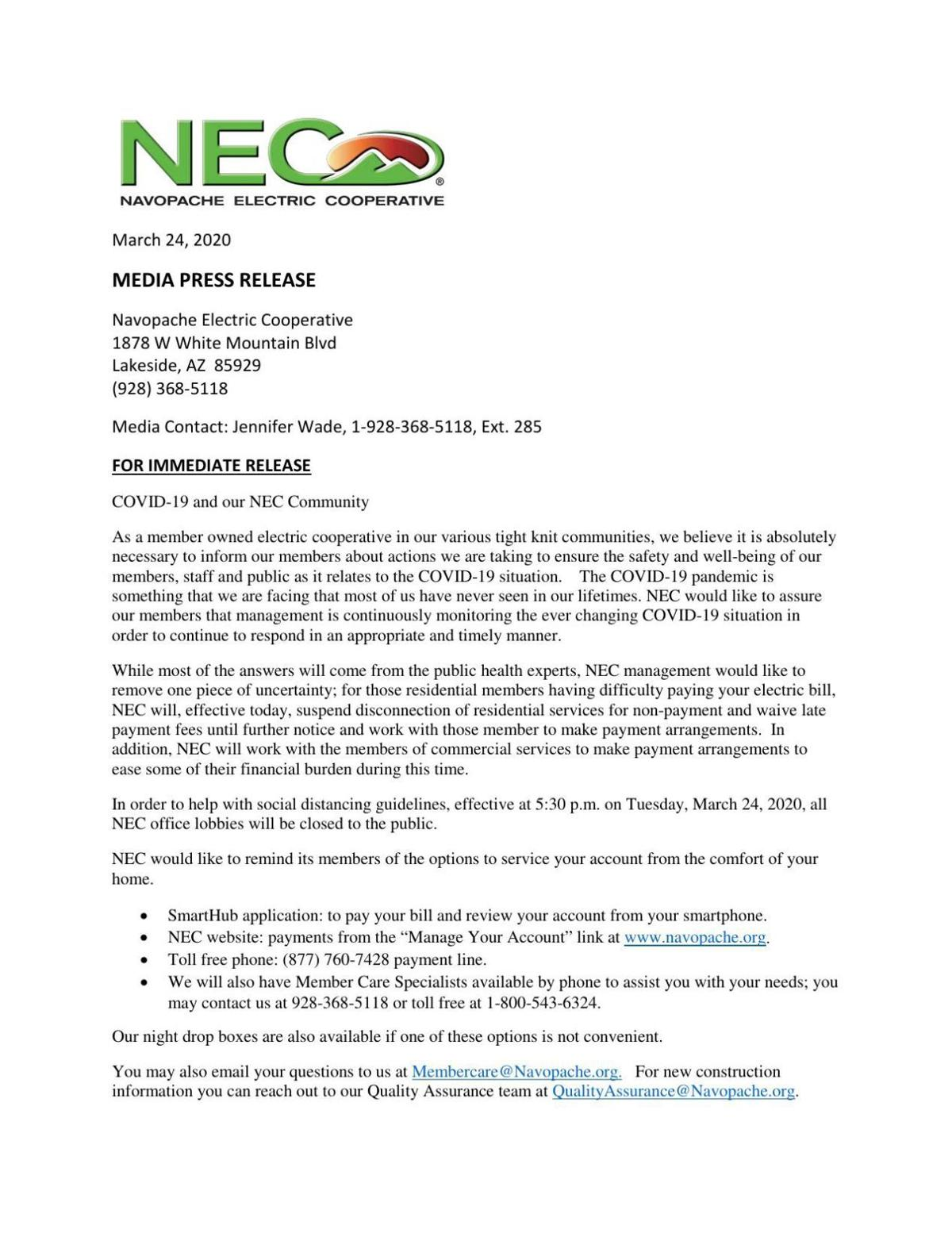 Navopache Electric Coop -Letter from CEO 3/24/20