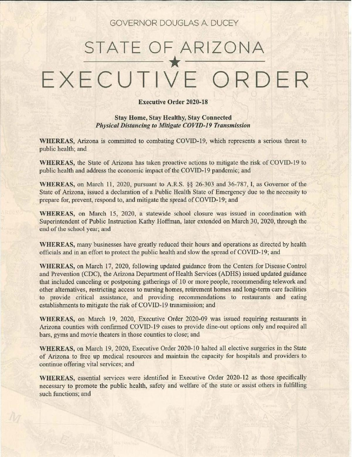 Ducey Executive Order -Stay home