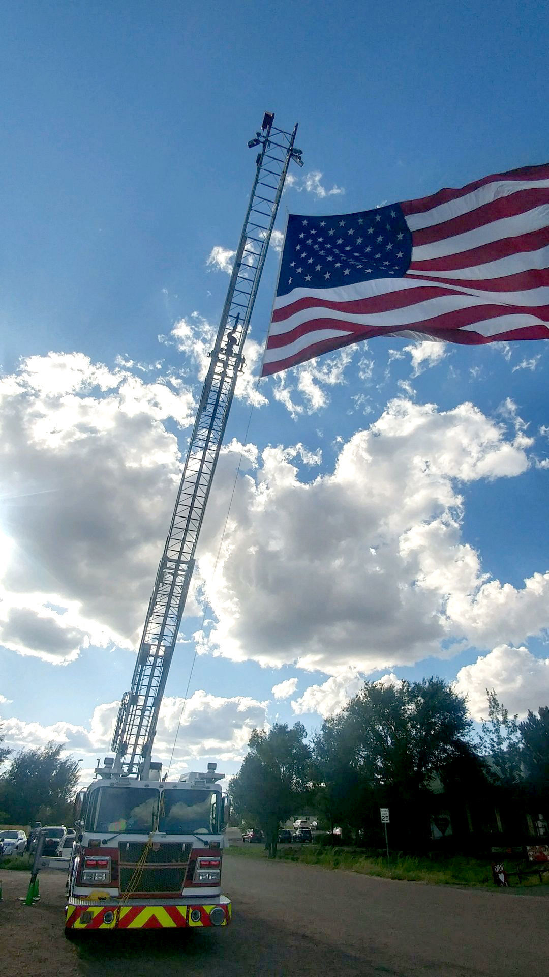 Timber Mesa Fire and Medical District anniversary - ladder truck with US flag