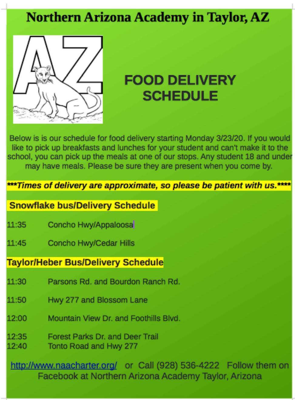 Northern AZ Academy - Meal schedule