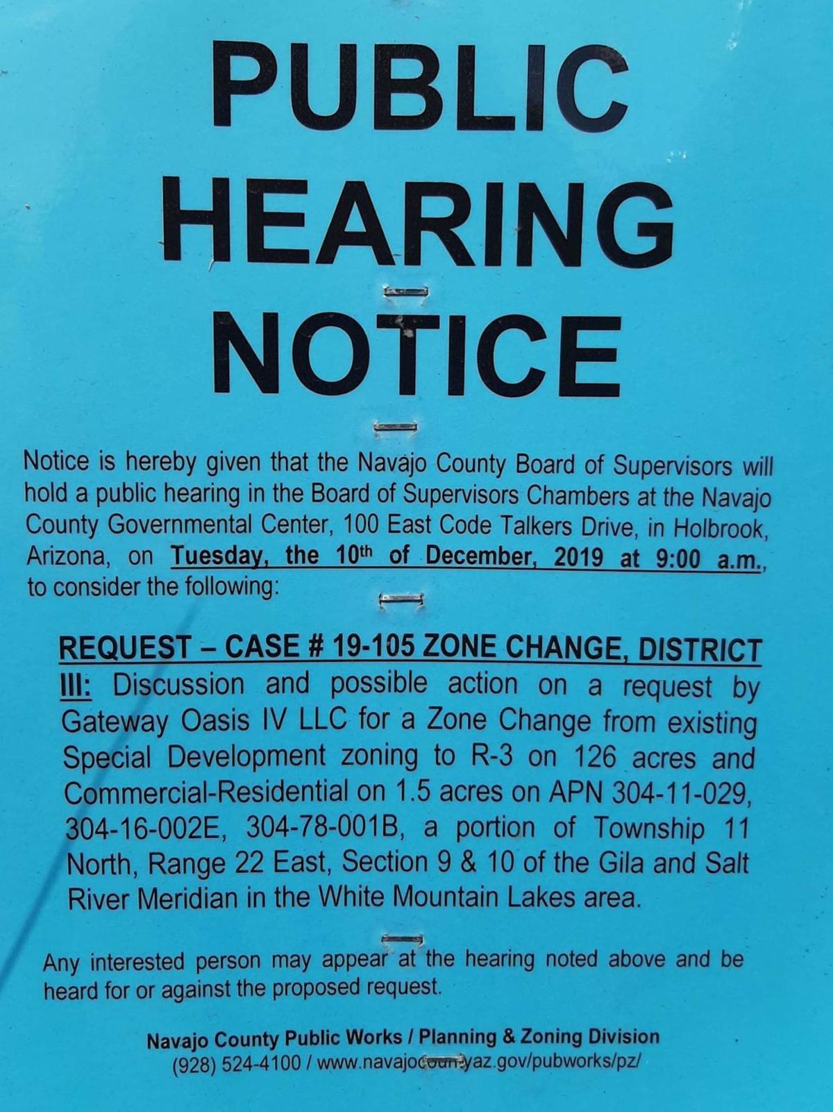 White Mountain Lake zone change