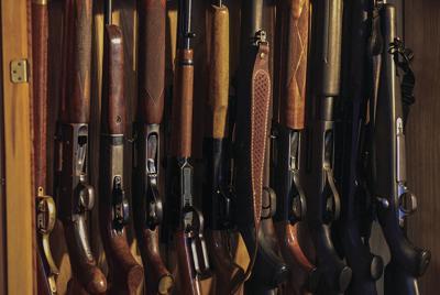 Rifles in gun rack