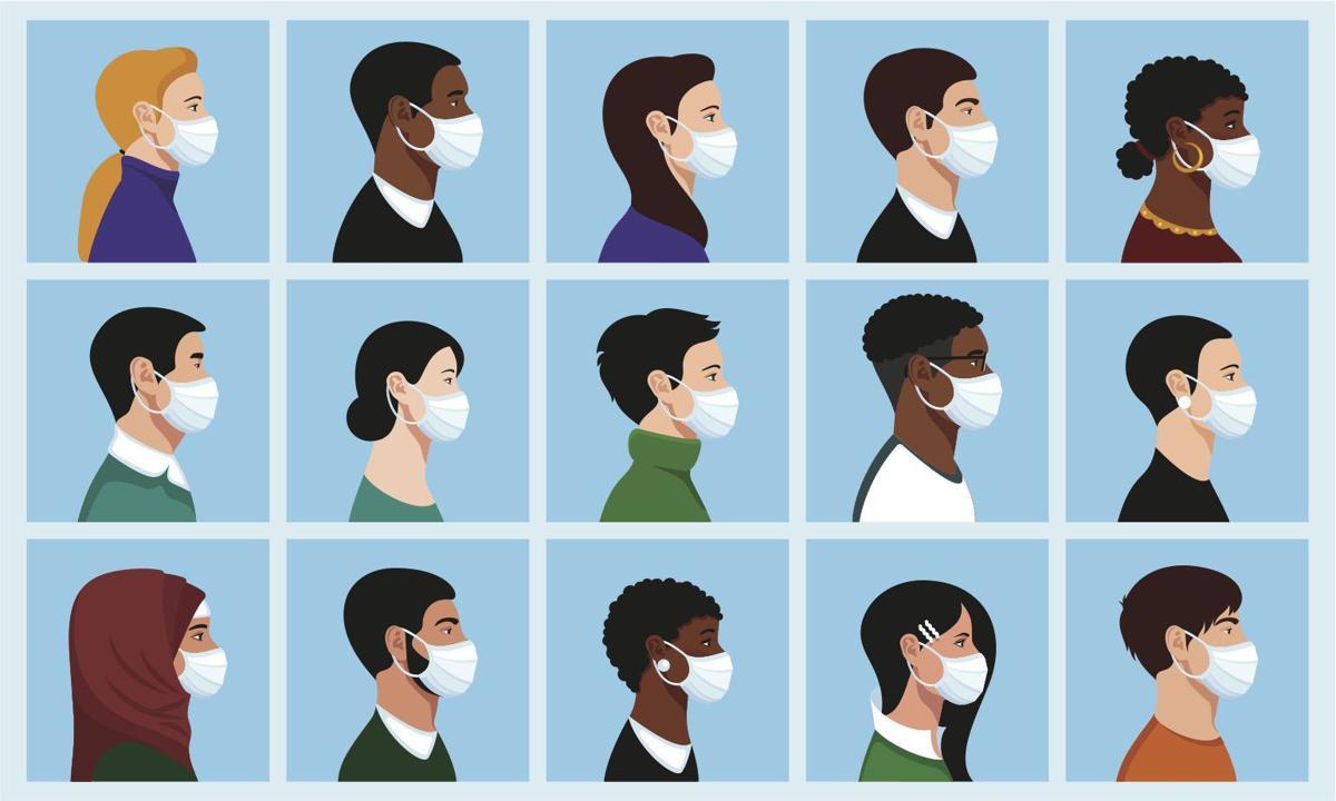 People wearing masks- stylized