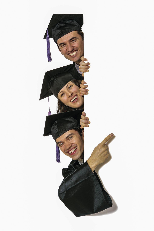 Graduation in the Age of COVID-19 - graduates peeking around the door