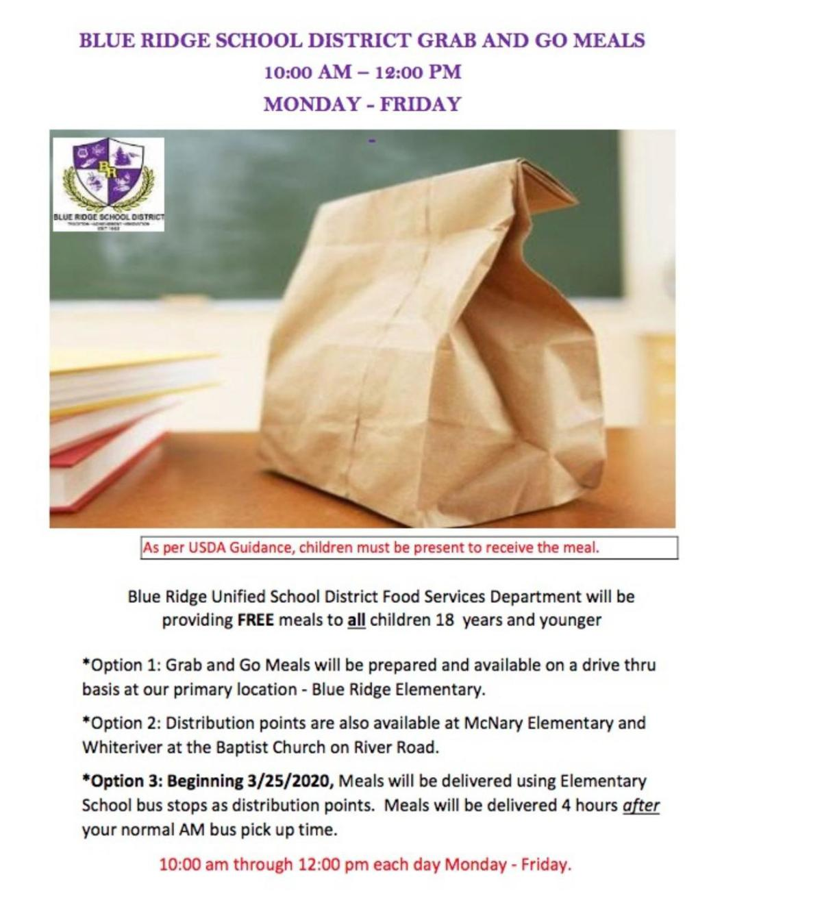 Blue Ridge USD school meals- 3/25/20