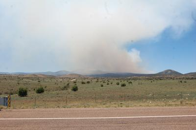 Smoke from Whiting Knoll Fire seen along highway