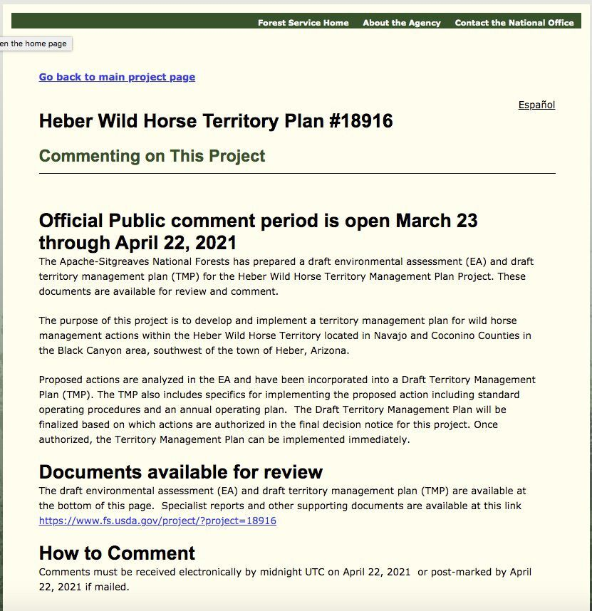 USFS website to submit comments