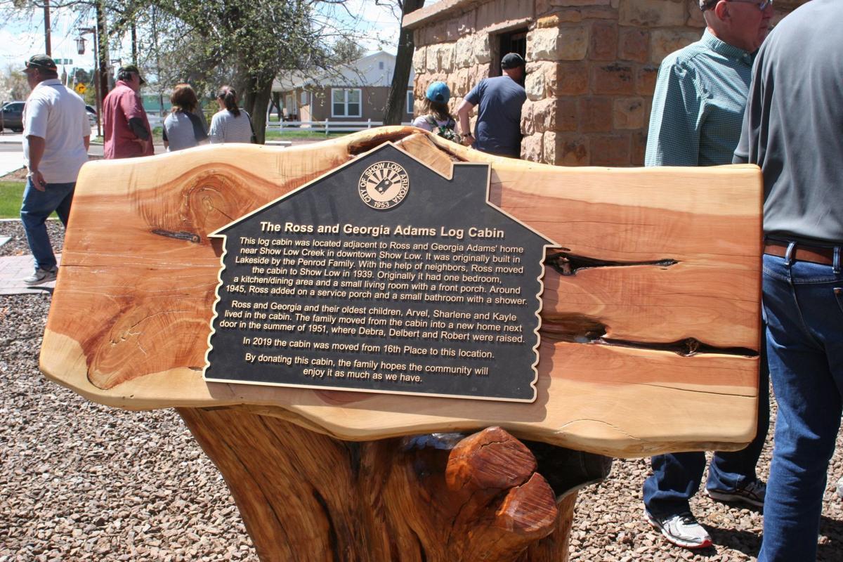 Adams Cabin plaque