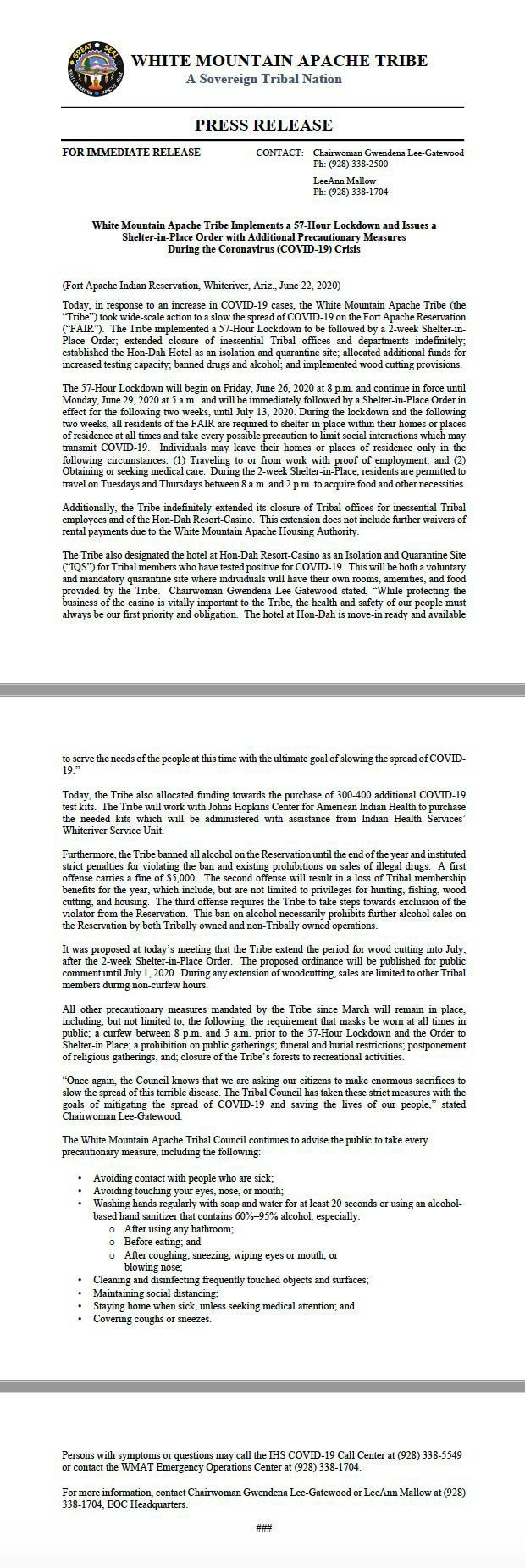 WMAT press release issued by Chairwoman Gwendena Lee-Gatewood on 6/22/20