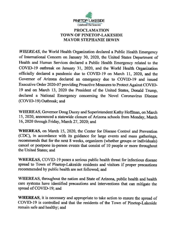 PTLS emergency proclaimation