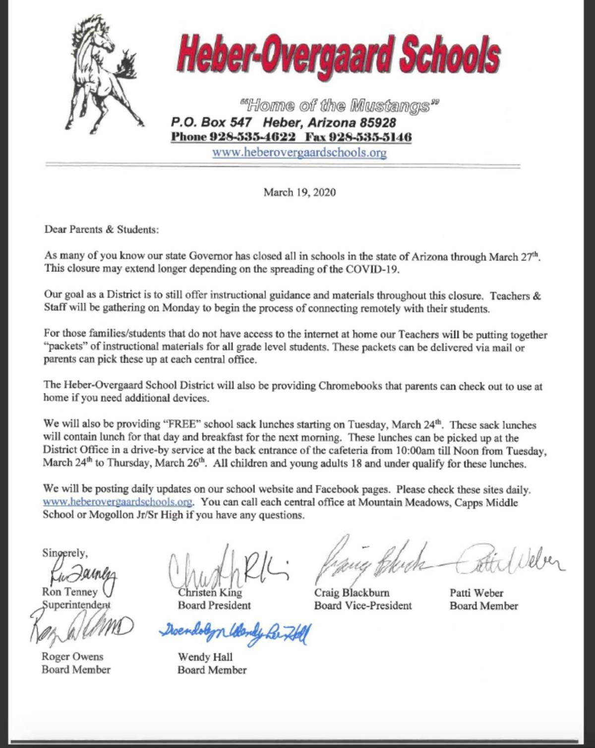 Heber/Overgaard Schools- Letter 1