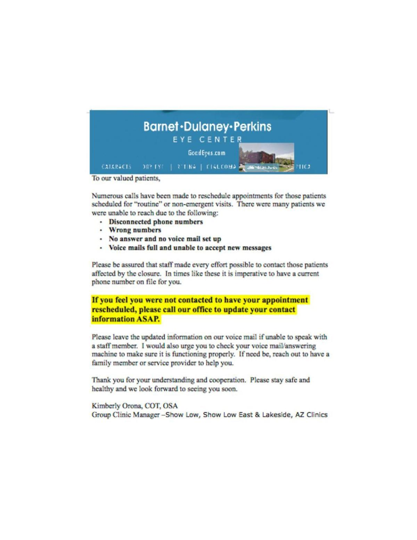 Barnet Dulaney Perkins- NOTICE TO PATIENTS