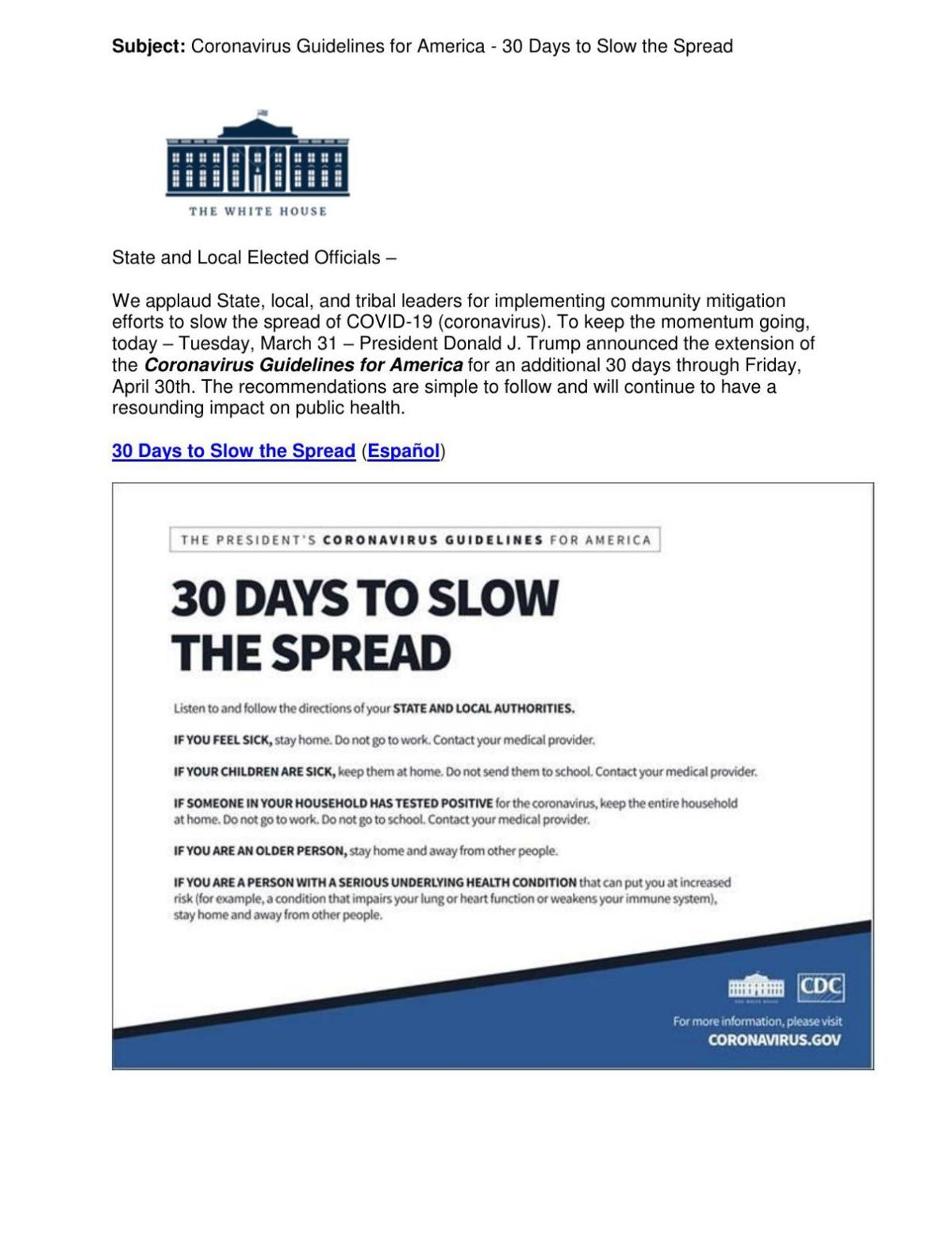 30 Days to Slow the Spread flyer