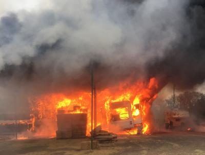 Cowboy Up feed store fire
