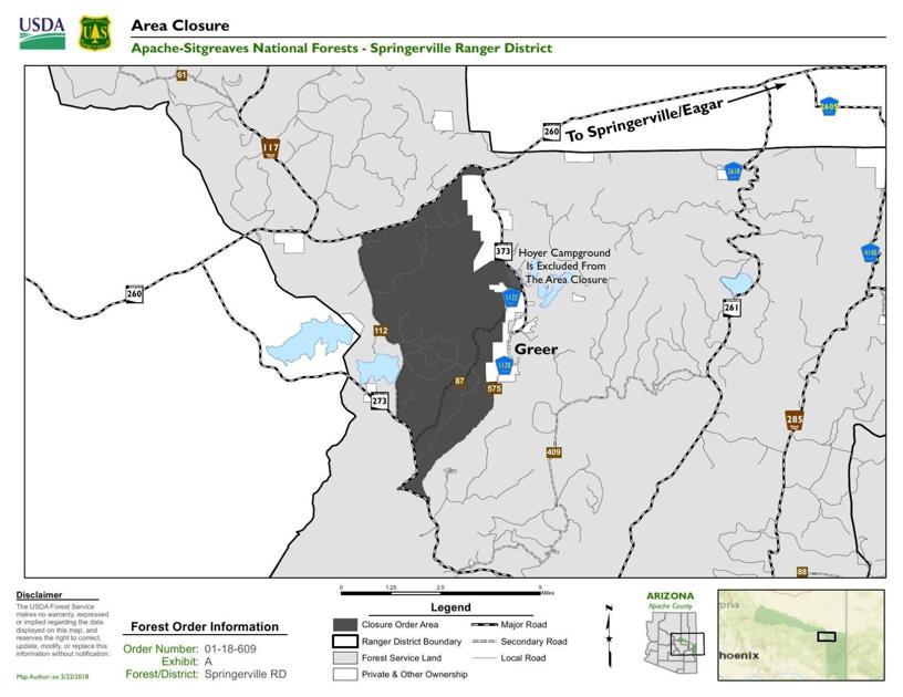 Springerville Ranger District closure map | | wmicentral.com