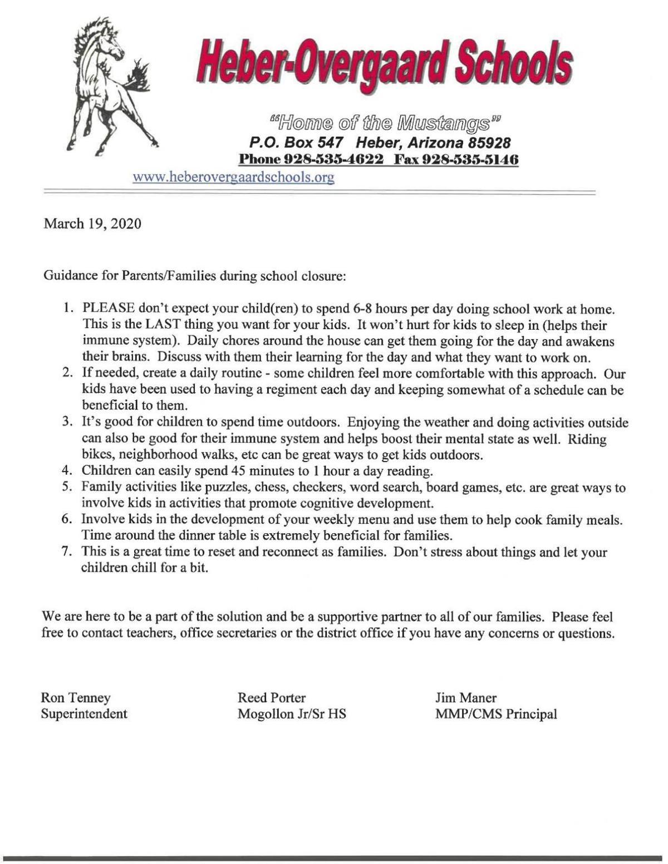 Heber/Overgaard Schools- Letter 2
