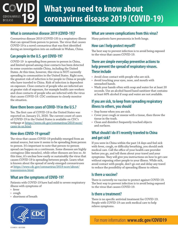 Corona Virus Fact Sheet -CDC