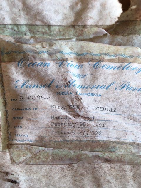 Cremains - a resting place for Elizabeth