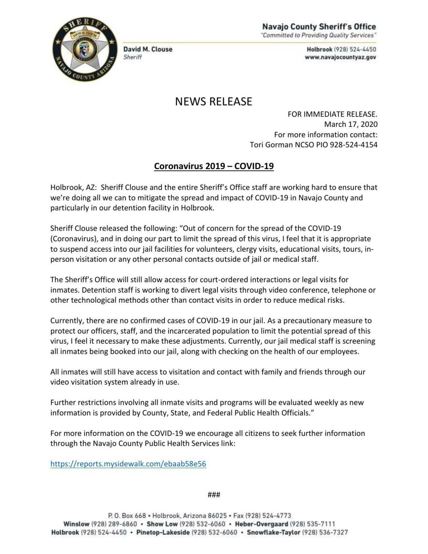 Navajo County Jail COVID-19 advisory