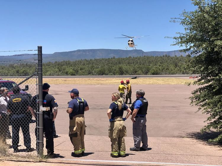 Crews watching at the airport