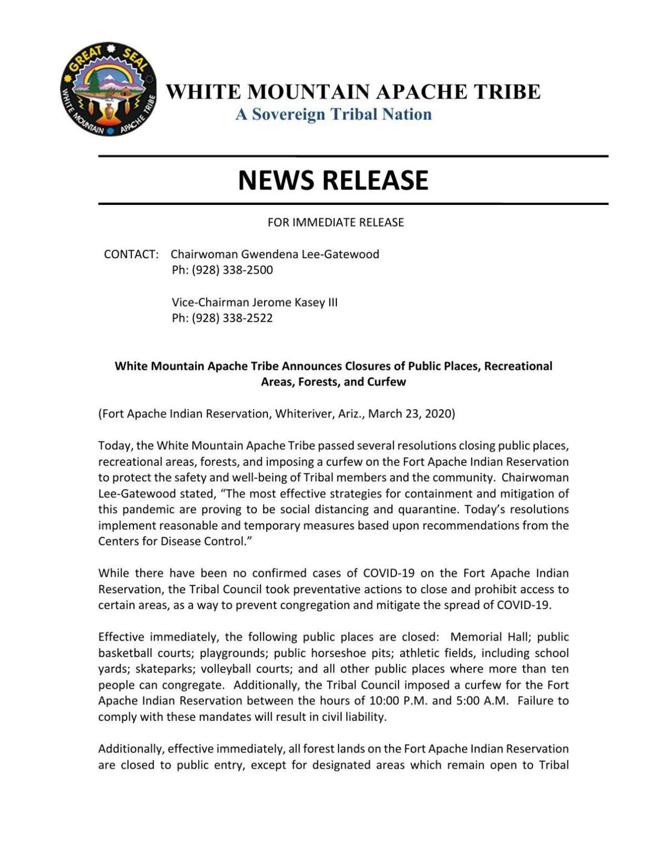 White Mountain Apache Tribe Announces Closure of Public Places