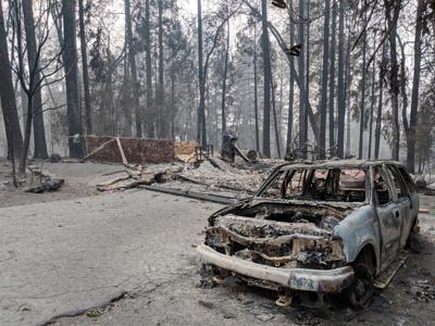 Camp Fire  burned out home and car