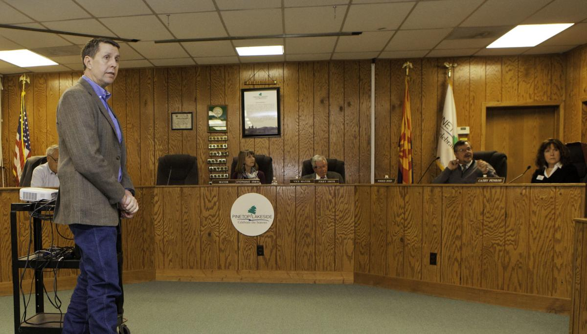 Game and Fish Pinetop Regional Supervisor Chris Bagnoli presents to PL Council