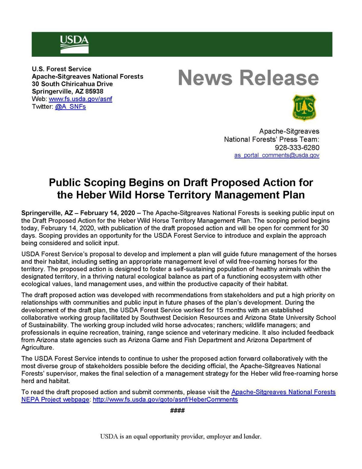 USFS releases Heber Wild Horse management plan draft