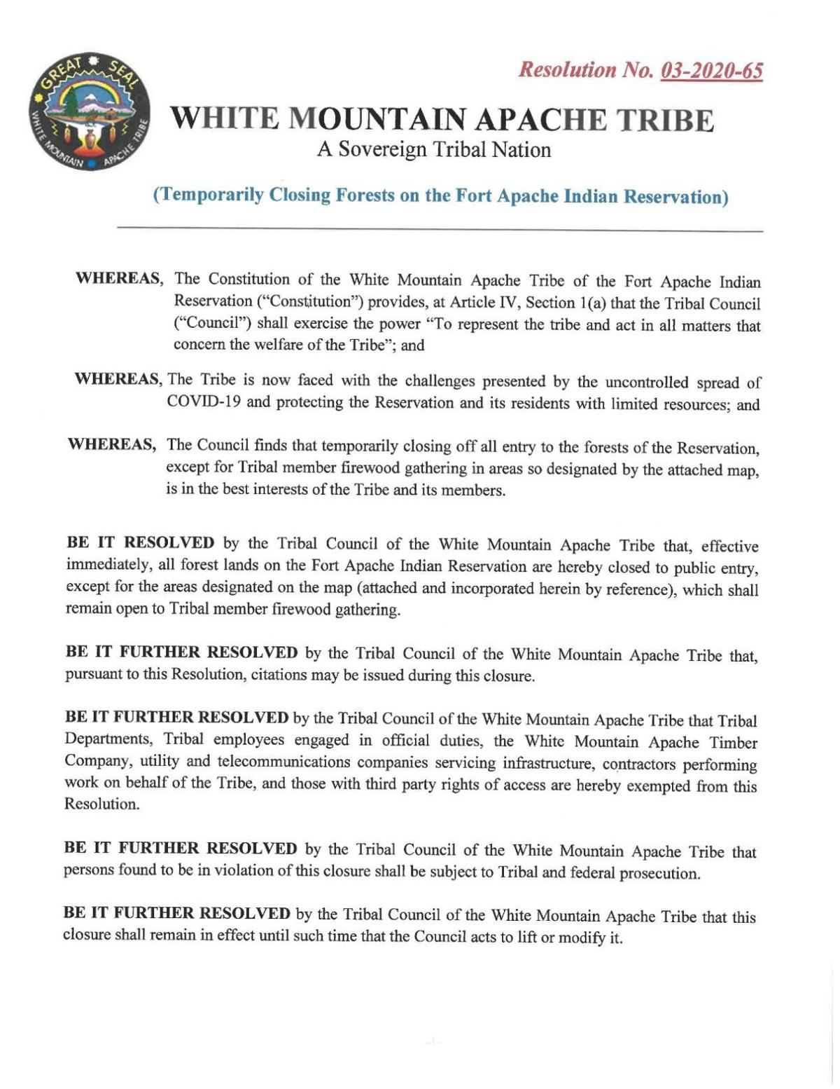 WMAT Proclamation closing tribal forest lands