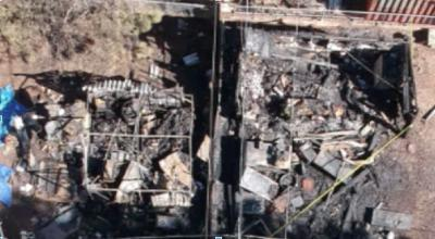 TMFMD drone technology deployed to assist local firefighters - pic of a fire site
