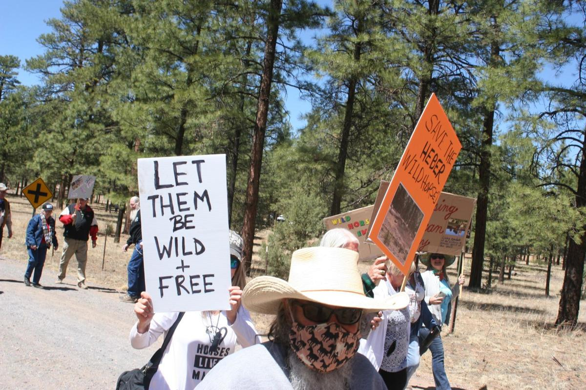 Marching from the park to the Black Mesa Ranger Dist