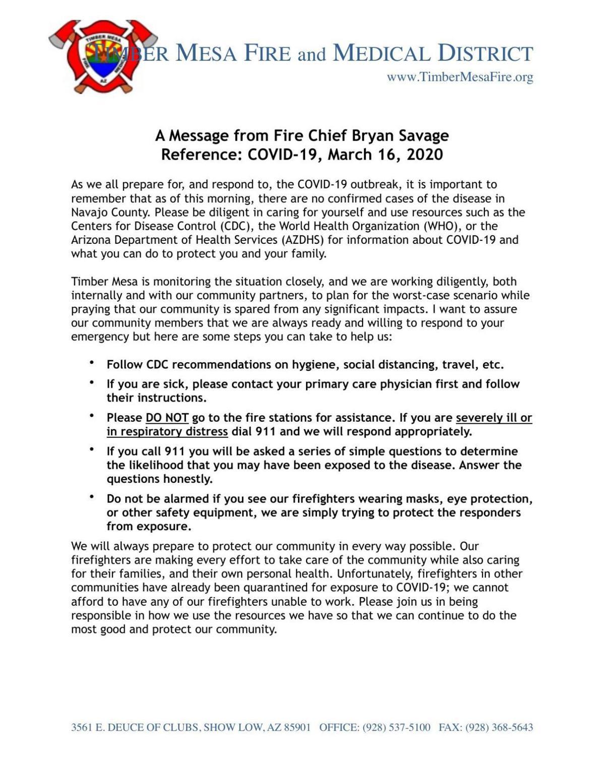 Timber Mesa CIVID-19 advisory