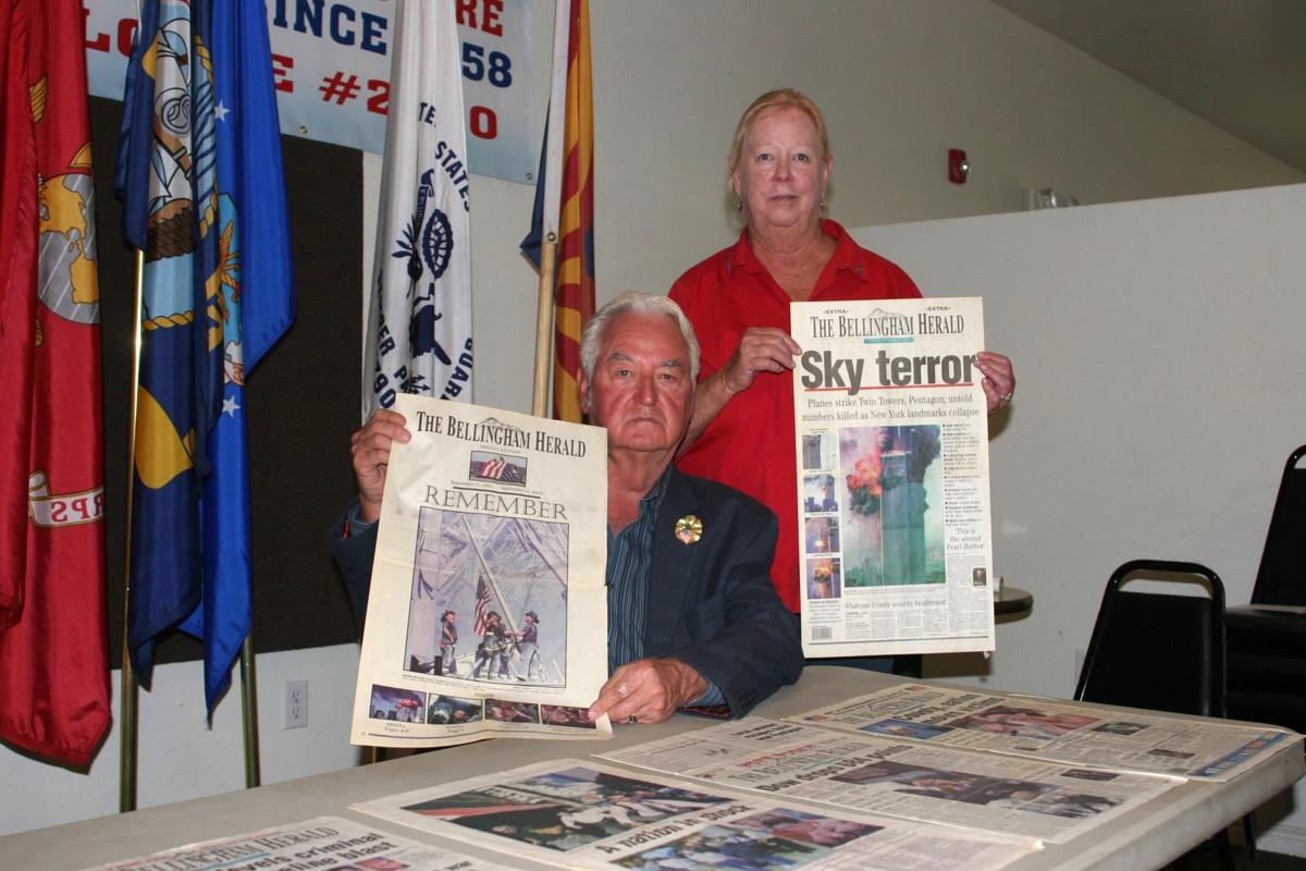 Jim and Connie Zawacki with some of the 9/11 memoralbia